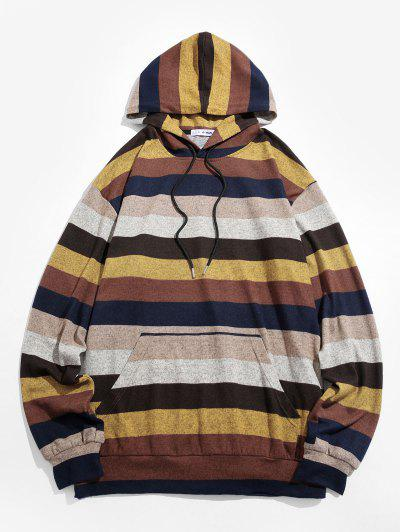 ZAFUL Colorblock Striped Knitted Hoodie - Multi Xl