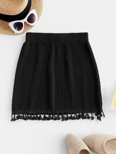 Tassels Crochet Beach Skirt - Black