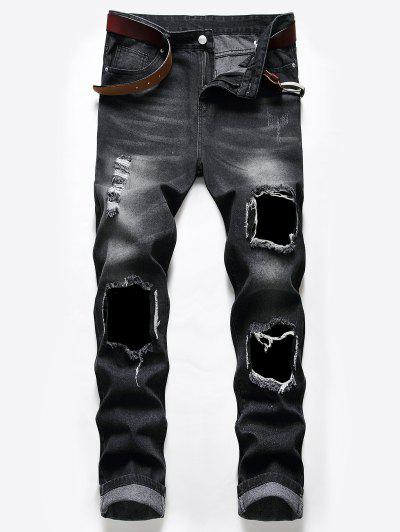 Distressed Long Destroy Wash Scratch Ripped Jeans - Natural Black 32