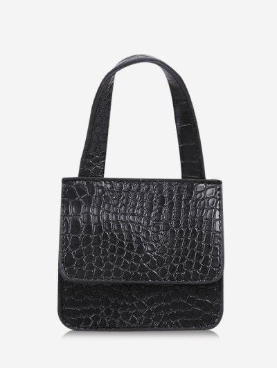 Square Cover Small Hand Bag - Black