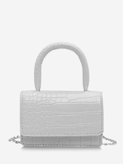 Animal Embossed Flap Mini Tote Bag - White