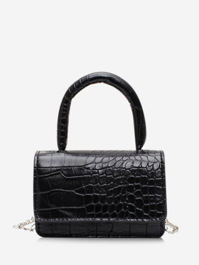 Animal Embossed Flap Mini Tote Bag - Black