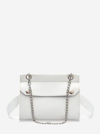 Chain Embellished Convertible Strap Mini Crossbody Bag - White