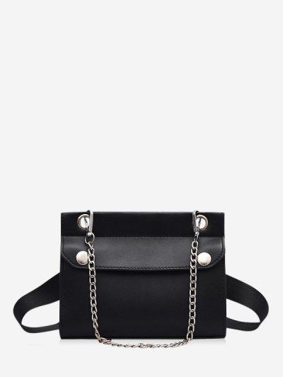 Chain Embellished Convertible Strap Mini Crossbody Bag - Black