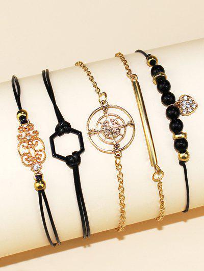 5 Piece Heart Star Geometric Rope Chain Bracelets Set - Golden
