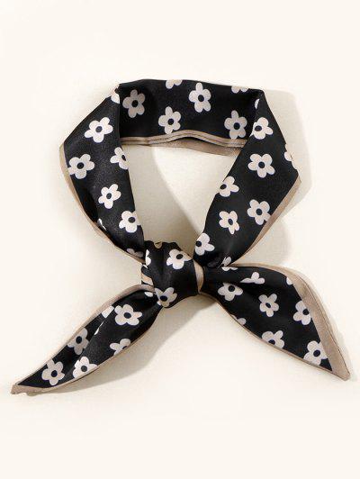 Tiny Flower Neck Tie Satin Scarf - Black
