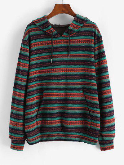 Kangaroo Pocket Drawstring Tribal Print Hoodie - Green L