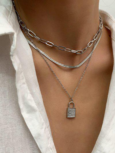 3 Piece Rhinestone Key Multilayered Chain Necklaces Set - Silver