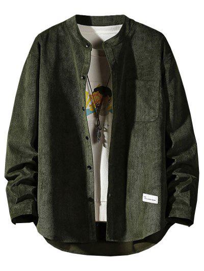 Letter Applique Button Up Corduroy Shirt - Army Green 2xl