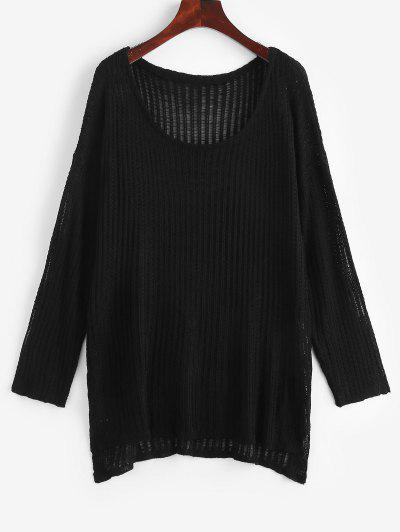 Crochet Tunic Top - Black
