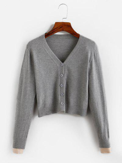 Cropped Button Up V Neck Cardigan - Gray