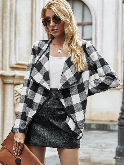 Open Front Wool Blend Plaid Coat - Black L