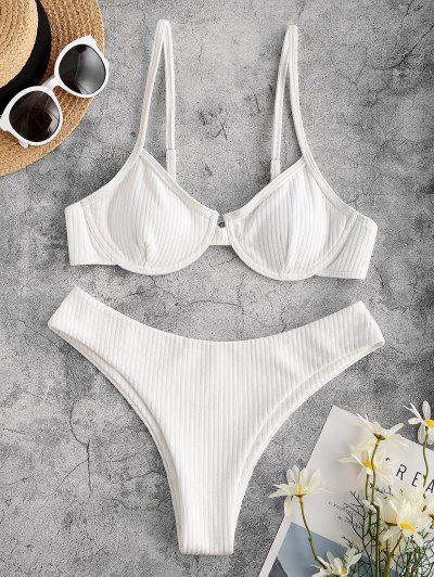 ZAFUL Maillot De Bain Bikini Côtelé Texturé à Armature - Blanc S