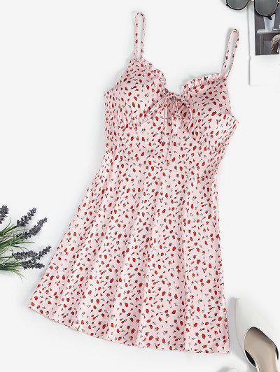 Strawberry Print Ruffle Padded Cami Dress - Light Pink S