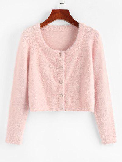 ZAFUL Fuzzy Knit Snap Button Boxy Cardigan - Light Pink L