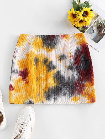 ZAFUL Corduroy Tie Dye Mini Skirt - Multi-a M