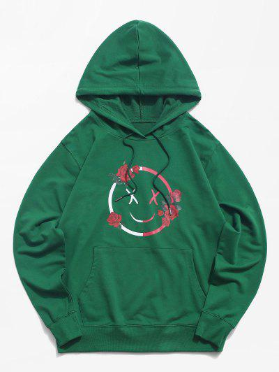 Funny Face Rose Graphic Hoodie - Deep Green 2xl