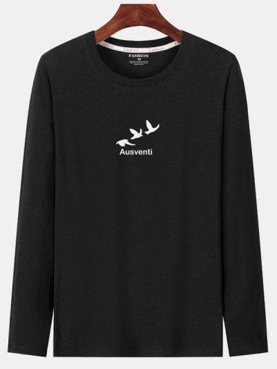 Long Sleeve Birds Graphic Print T-shirt - Black Xl