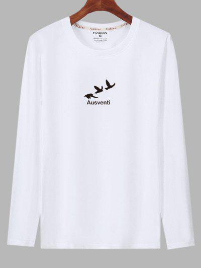 Long Sleeve Birds Graphic Print T-shirt - White S