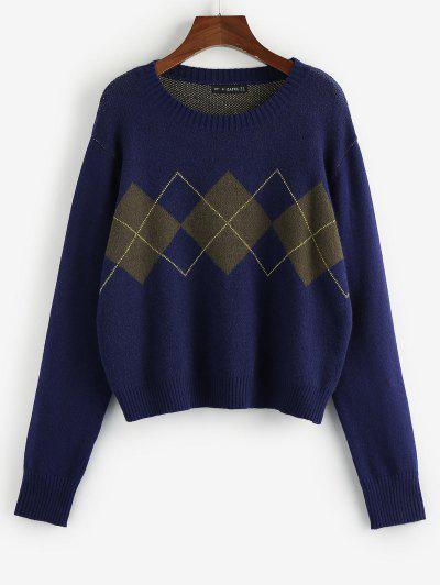 ZAFUL Argyle Loose Jumper Sweater - Blue S