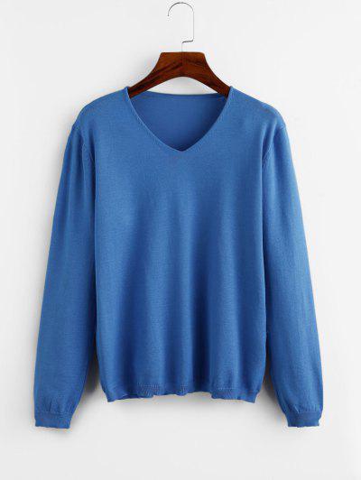 V Neck Plain Jersey Sweater - Blue