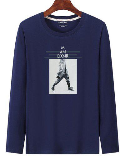 Graphic Print Long Sleeves T-shirt - Cadetblue Xl