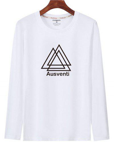 Geometric Graphic Print Long Sleeve T-shirt - White Xs