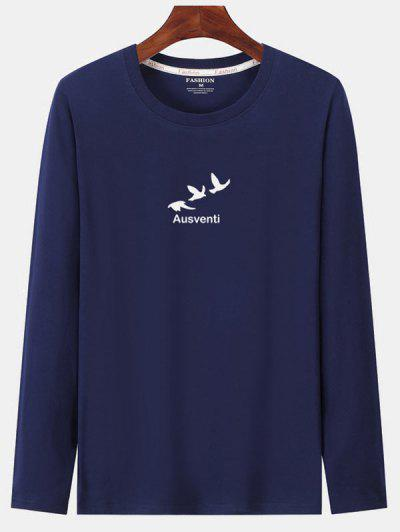 Long Sleeve Birds Graphic Print T-shirt - Cadetblue S