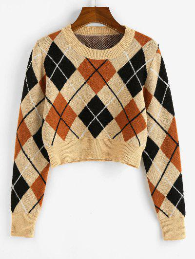 ZAFUL Argyle Crop Jumper Sweater - Light Coffee M