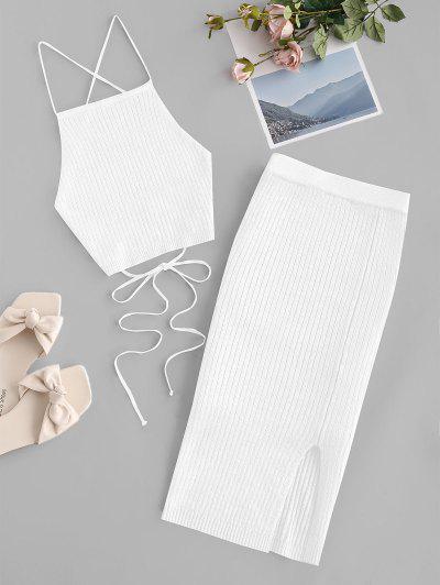 Open Back Crisscross Knitted Two Piece Dress - White S