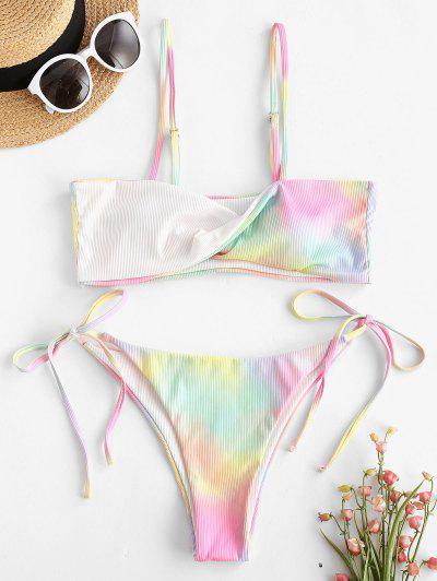 ZAFUL Tie Dye Twisted Ribbed Tie Bikini Swimwear - White L
