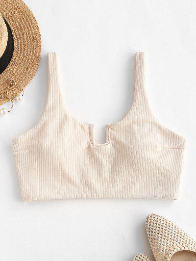 ZAFUL Ribbed U-wired Cropped Tank Bikini Top - Light Coffee S