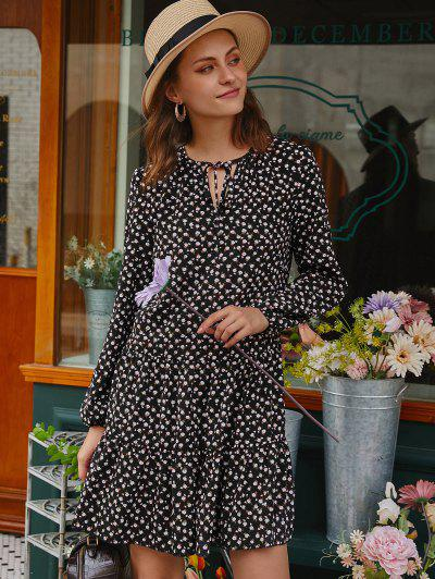 Mini Robe Fleurie Manches Longues à Col Noué - Noir M