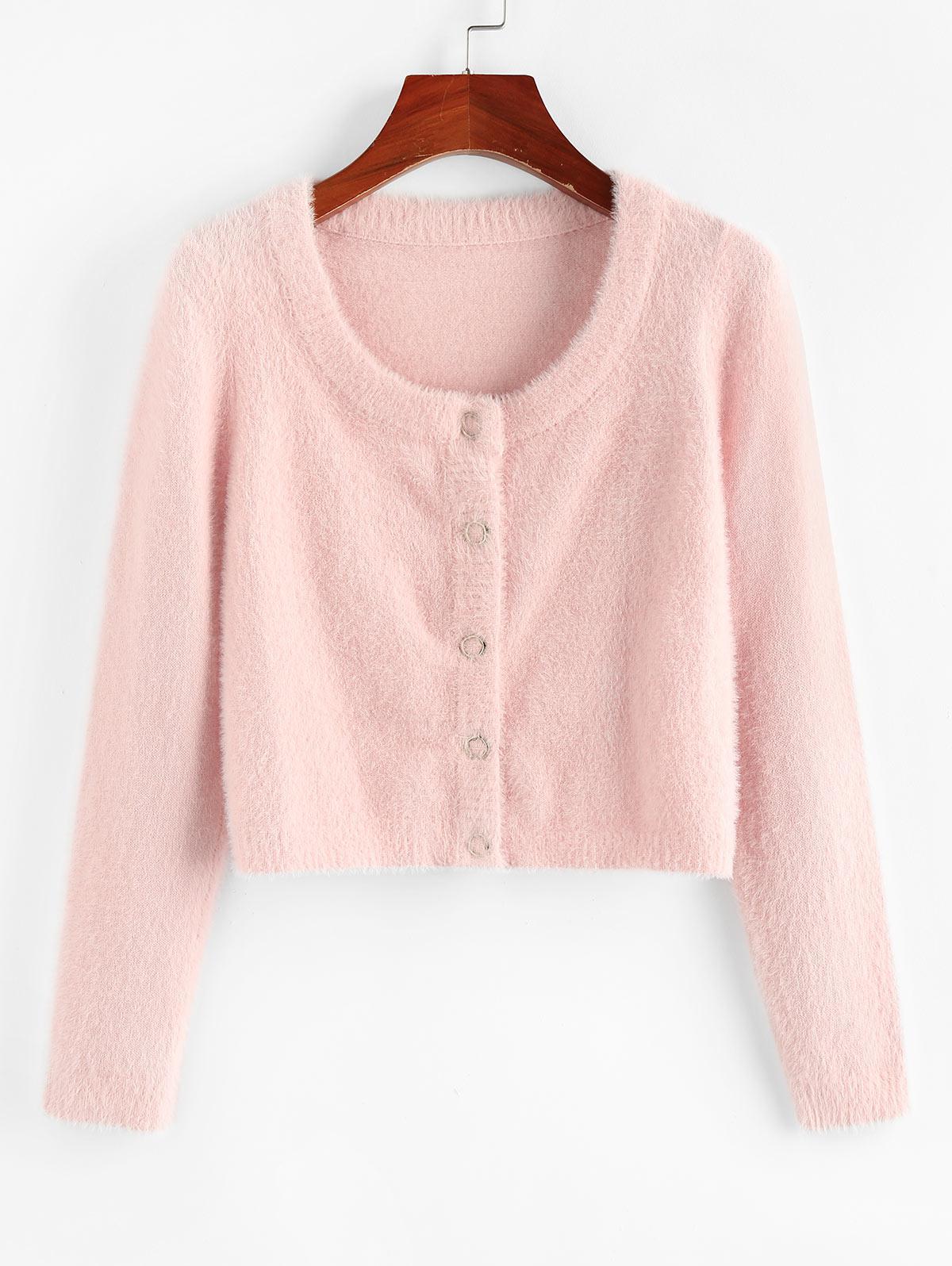 ZAFUL Fuzzy Knit Snap Button Boxy Cardigan