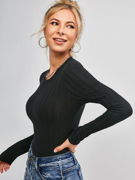 new Plain Ribbed Cropped Tee - BLACK S