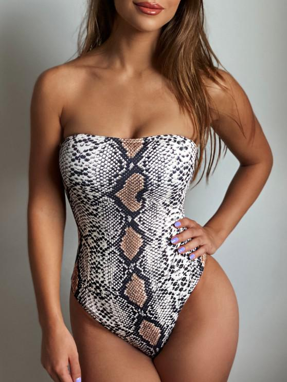 ZAFUL Snakeskin Lace Up High Cut Tube One-piece Swimsuit - متعددة-A M