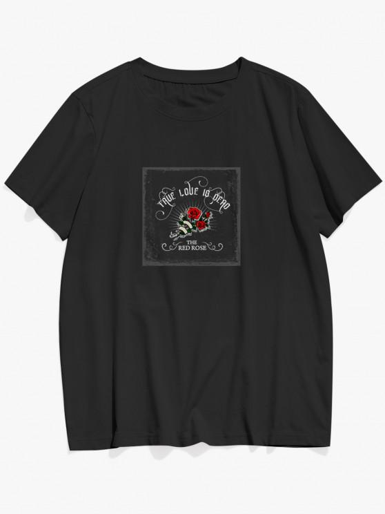 hot TRUE LOVE IS DEAD Red Rose Graphic T-shirt - BLACK L