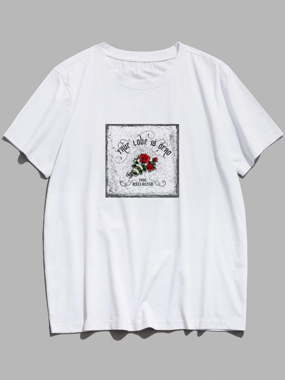 TRUE LOVE IS DEAD Red Rose Graphic T-shirt - أبيض XS