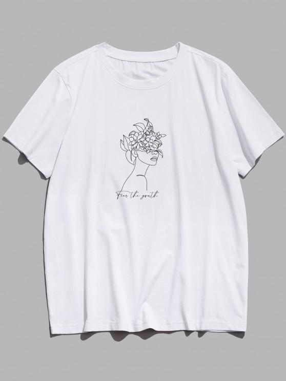 Fear The Youth Floral Figure Print Basic T-shirt - أبيض XS