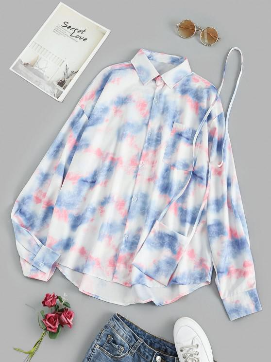 Oversize Tie Dye Pocket Shirt with Crossbody Bag - أزرق XL