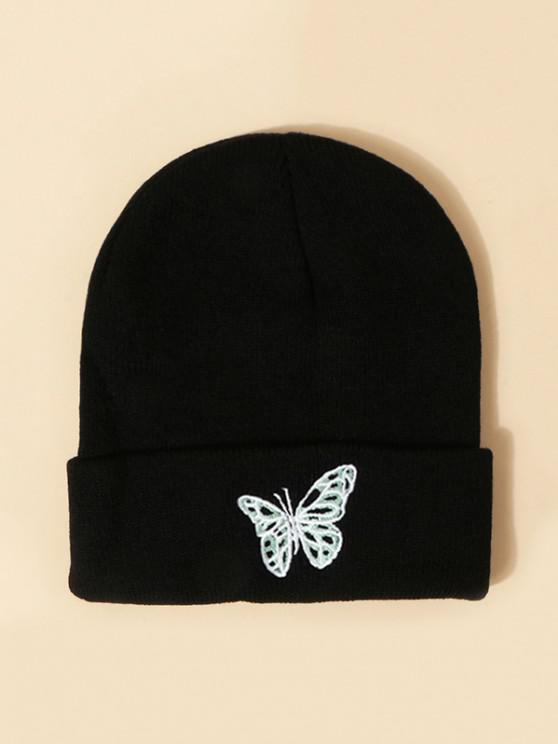 affordable Embroidered Butterfly Knitted Hat - BLACK