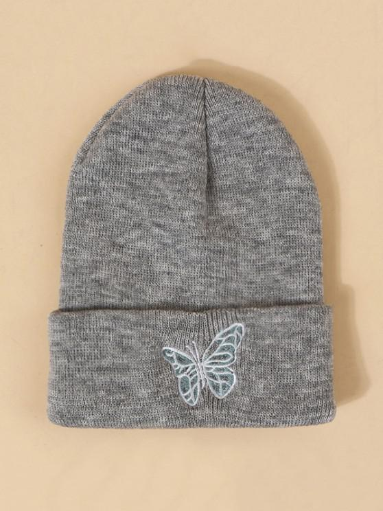 womens Embroidered Butterfly Knitted Hat - GRAY