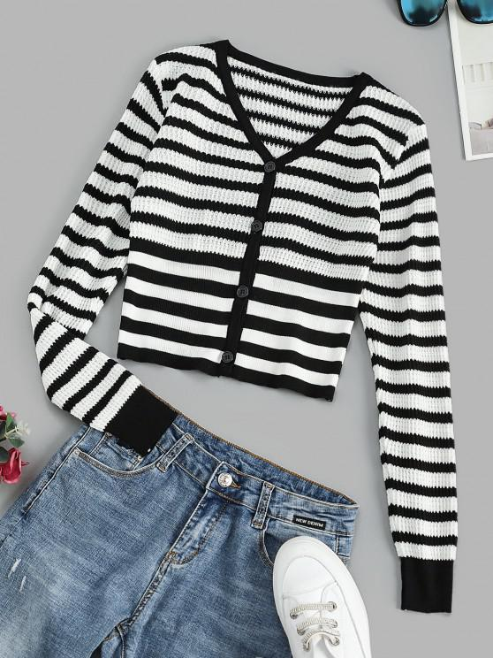 affordable V Neck Button Up Contrast Stripes Cardigan - BLACK ONE SIZE