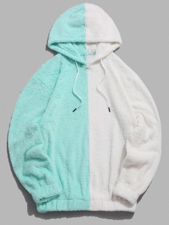 trendy Contrast Faux Fur Fluffy Hoodie - LIGHT AQUAMARINE L