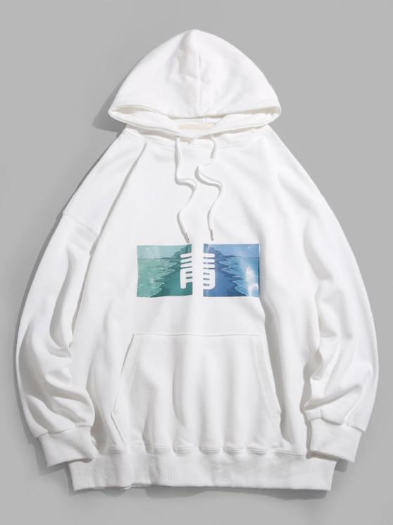 Chinese Character Graphic Pullover Front Pocket Hoodie - أبيض L