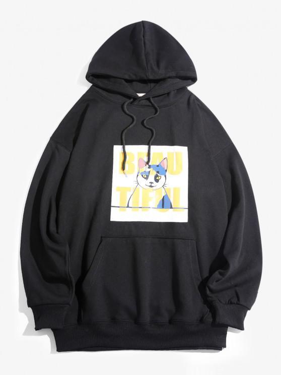 Casaco Encapuzado com Bolso e Estampa de Gato de Desenho Animado - Preto XL