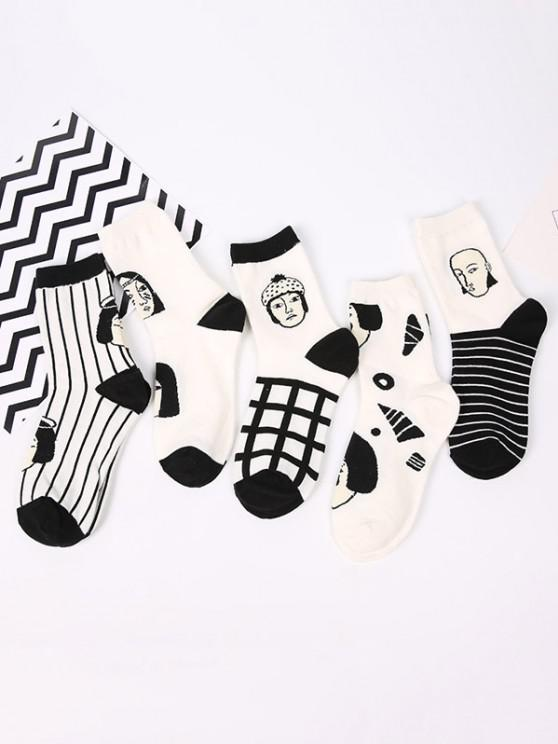 shop 5 Pairs Colorblock Character Pattern Socks Set - MULTI-A
