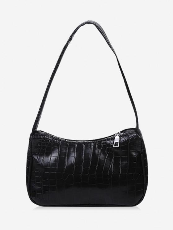sale French Style Textured Shoulder Bag - BLACK
