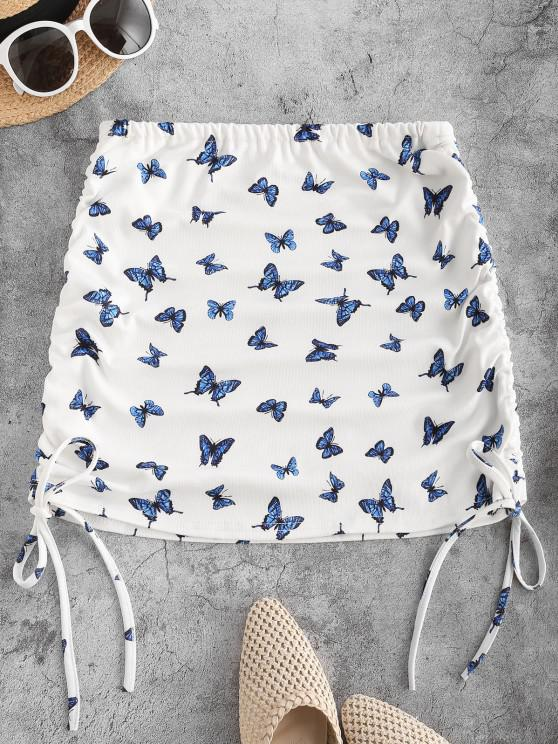 online Cinched Tied Butterfly Print Short Skirt - BLUE ONE SIZE