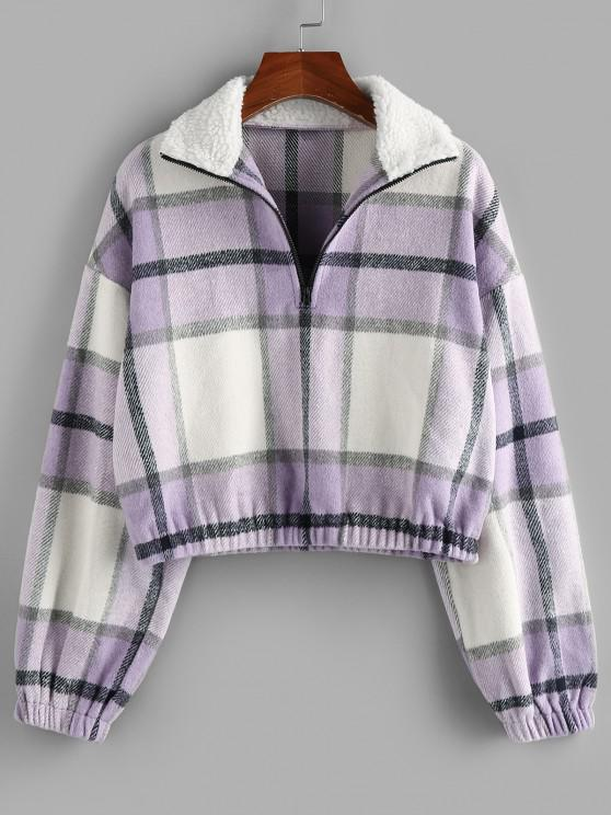 ZAFUL Plaid Half Zip Teddy Collar Drop Shoulder Sweatshirt - خبازي M